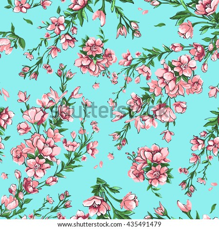 Seamless pattern of branches and flowers sakura.