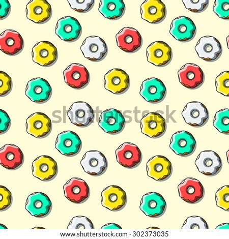 Seamless pattern of bright multi-colored donuts. The pattern of eating. Colored donuts. Clothing design. Packaging design. Vector - stock vector