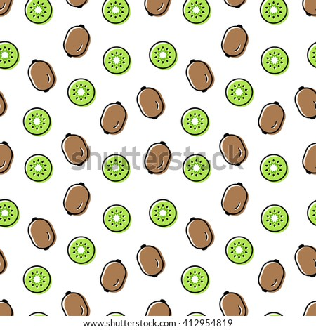 Seamless pattern of brown kiwi and sliced kiwi green, bright colors, flat style, randomly scattered on a white background small