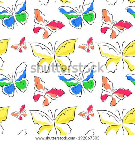 seamless pattern of butterflies - vector illustration