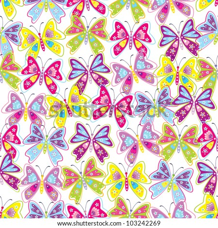 Seamless pattern of butterfly & flower