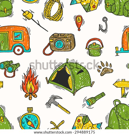 Seamless Pattern Of Camping Gear Elements Flashlight Marshmallow Trailer Camera Map