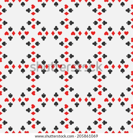 Seamless pattern of card suits - stock vector