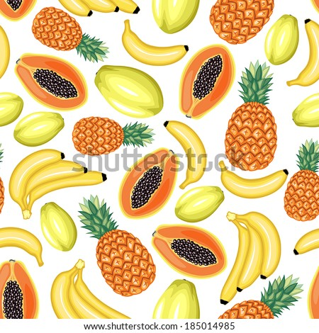 Seamless pattern of cartoon colorful image tropical fruits
