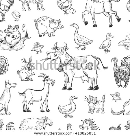 Seamless pattern of cartoon sketches on livestock . Cow , sheep , goat, horse , poultry . - stock vector