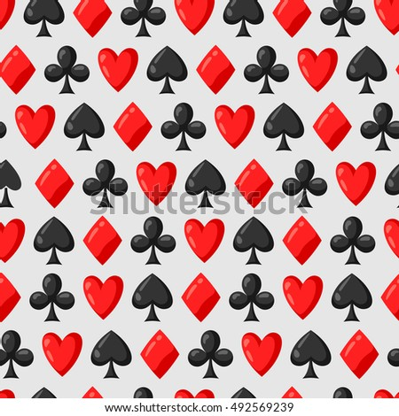 Seamless pattern of casino red and black card suits.