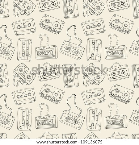Seamless pattern of cassette tapes. Vector background. - stock vector