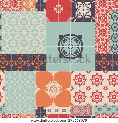 Seamless pattern of ceramic tiles - patterns, RETRO blue-orange-red-violet-beige style. - stock vector