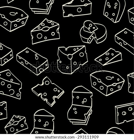Seamless pattern of Cheese  - stock vector