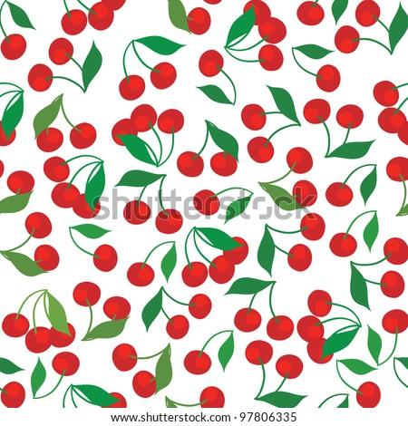 seamless pattern of cherries - stock vector