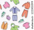 seamless pattern of children's clothes on white striped background - stock vector