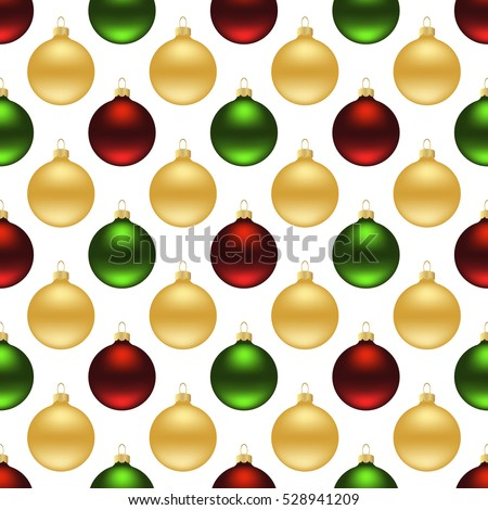 Seamless pattern of christmas balls on white background