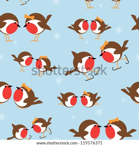 seamless pattern of christmas robins for use as wrapping paper background - stock vector