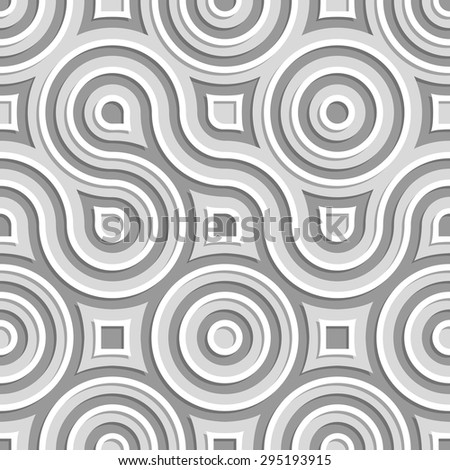 Seamless pattern of circles and flowing lines. - stock vector