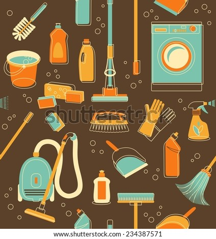 Seamless pattern of cleaning objects in vintage style - stock vector