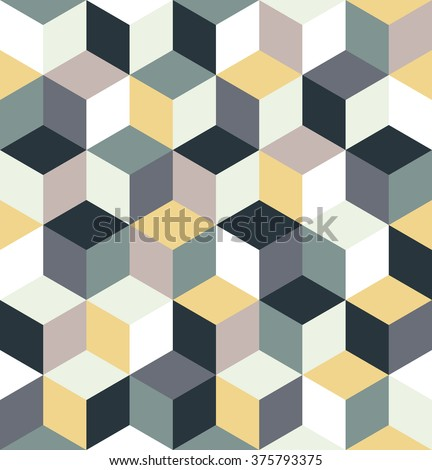 Seamless pattern of colored cubes. Endless multicolored cubic background. Cubical abstract with cube decoration. Vector illustration. - stock vector