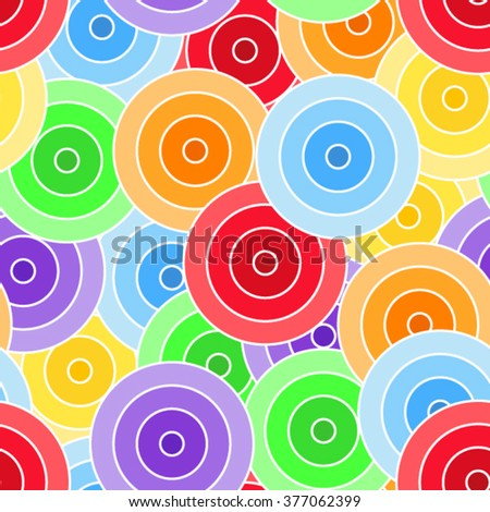 Seamless pattern of colorful circles with white border - stock vector