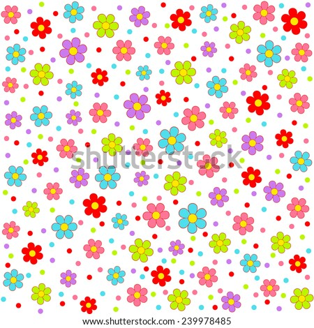 Seamless, pattern  of colorful flower on a white background, vector illustration - stock vector