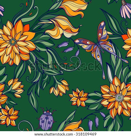 seamless pattern of colorful flowers and leaves with butterflies and bug - stock vector