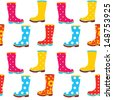 Seamless pattern of colorful gumboots - stock vector