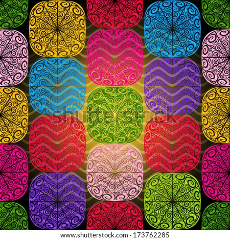Seamless pattern of colorful lacy squares with cross wavy translucent stripes (vector eps 10) - stock vector