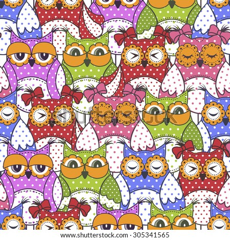 Seamless pattern of colorful owls  - stock vector