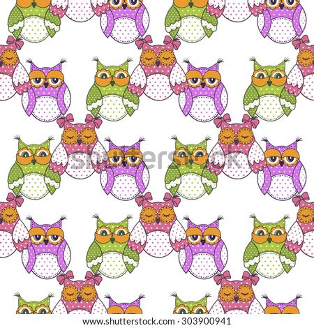 Seamless pattern of colorful owls on a white background - stock vector
