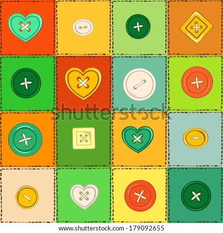 Seamless pattern of colorful patchworks and sewing buttons - stock vector