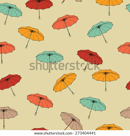 Seamless pattern of colorful umbrellas. Easy editable vector illustration - stock vector