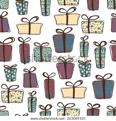 Seamless pattern of colorful vector gift boxes with bows and ribbons. Vector illustration