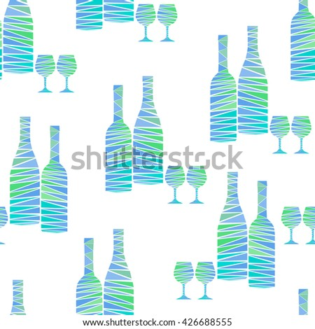 Seamless pattern of colorful wine bottles and stemware on white background. Wine bottles and wineglasses in mosaic geometric style. Creative vector art for menus, wrapping, interior design, etc. - stock vector