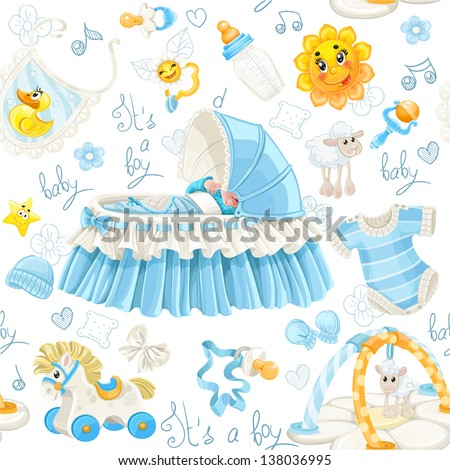 Seamless pattern of cribs, toys and stuff it's a boy - stock vector