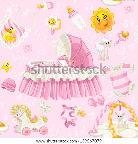 Seamless pattern of cribs, toys and stuff it's a girl on pink background - stock vector
