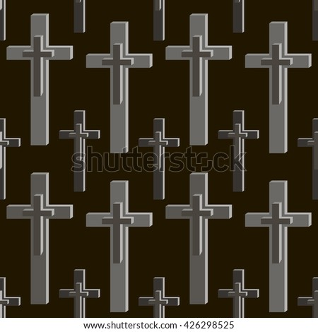 Seamless pattern of crosses in black and gray colors. Vector illustration