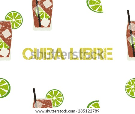 Seamless Pattern of Cuba Libre cocktail with lime and sign. White background. Vector illustration. - stock vector