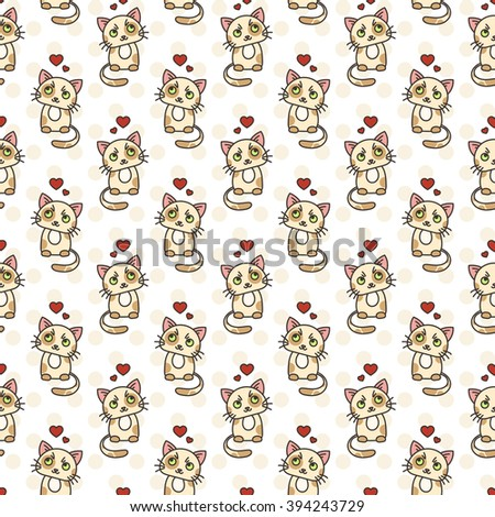 Seamless pattern of cute cat characters. Pet in love. Ornament for kids. - stock vector