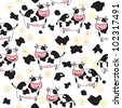 Seamless  pattern of cute cow - stock vector