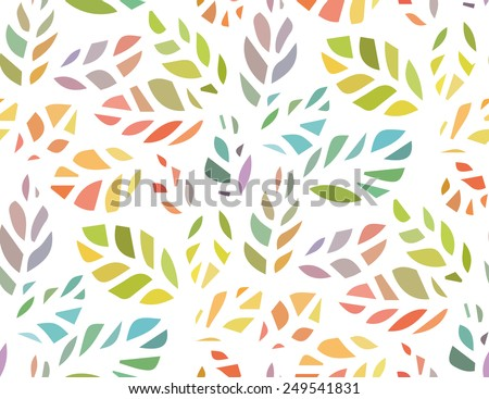 Seamless pattern of cute design colorful leaf silhouette Vector eps 10 - stock vector