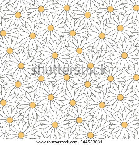 Seamless pattern of daisies. Background pattern of flowers with white petals and yellow center. Flower pattern. - stock vector
