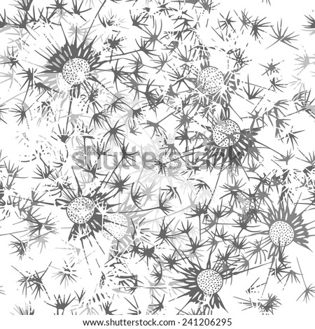 Seamless pattern of dandelion . Hand-drawn floral background. Monochrome  vector illustration.