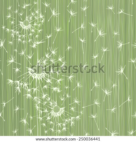 Seamless pattern of dandelion . Hand-drawn floral background,  vector illustration. - stock vector