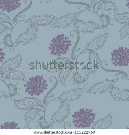 Seamless pattern of dandelions and leaves