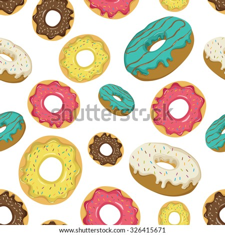 Seamless Pattern Of Delicious Donuts With Colorful Topping And Sprinkles - stock vector