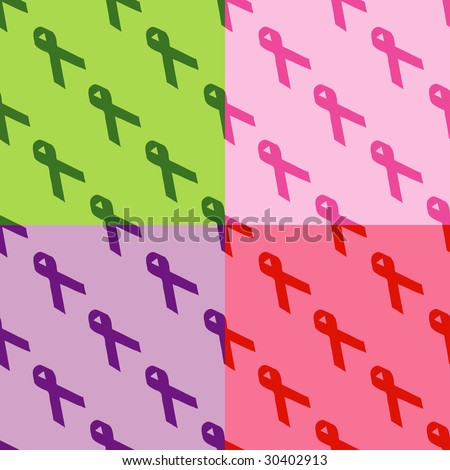 Seamless pattern of different awareness ribbons. - stock vector