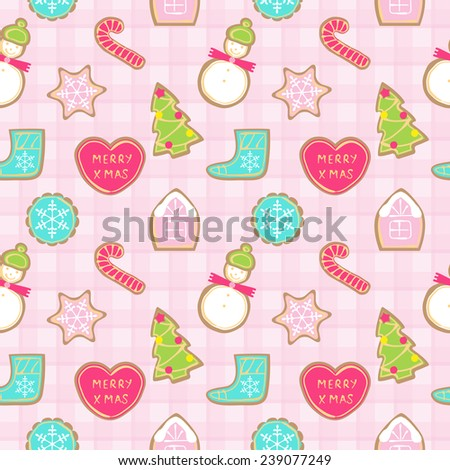 Seamless pattern of different Christmas cookies on checkered background