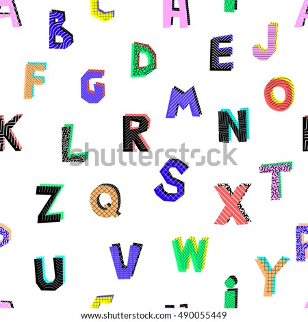 Seamless pattern of different colors abstract letters on a white background