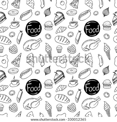 Seamless pattern of different kind of food: hot dog, chicken, omelette, pie, donut,  coffee, wafer, cheese, pizza, burger, sausage, croissant, ice-cream and other. Hand drawn illustration. Vector.