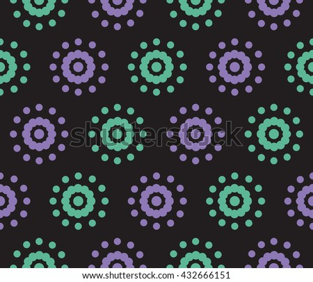 Seamless pattern of dots on a black background