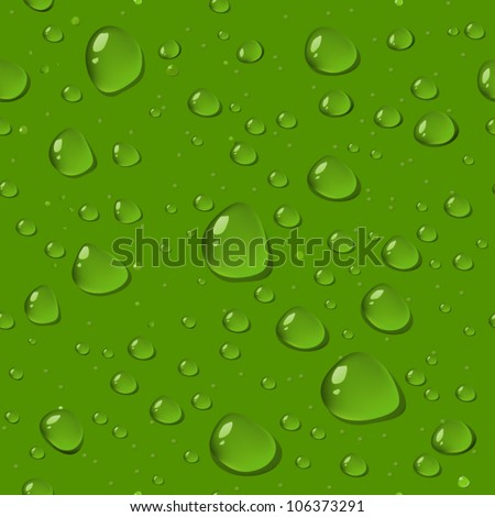 seamless pattern of drops on a green glass - stock vector