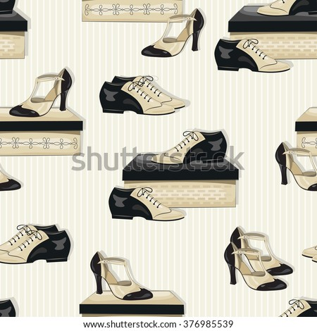 Seamless pattern of elegant women's and man's shoes. Vector. - stock vector